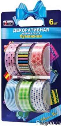 Декоративная клейкая лента на бумажной основе бумажная 15 мм х 5 м